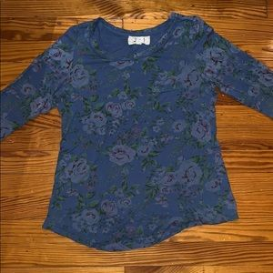 Anthropologie Blue Floral Long Sleeve Shirt